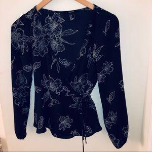 F21 floral wrap blouse